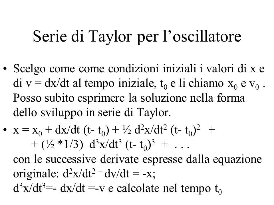 Serie di Taylor per l'oscillatore Scelgo come come condizioni iniziali i valori di x e di v = dx/dt al tempo iniziale, t 0 e li chiamo x 0 e v 0.