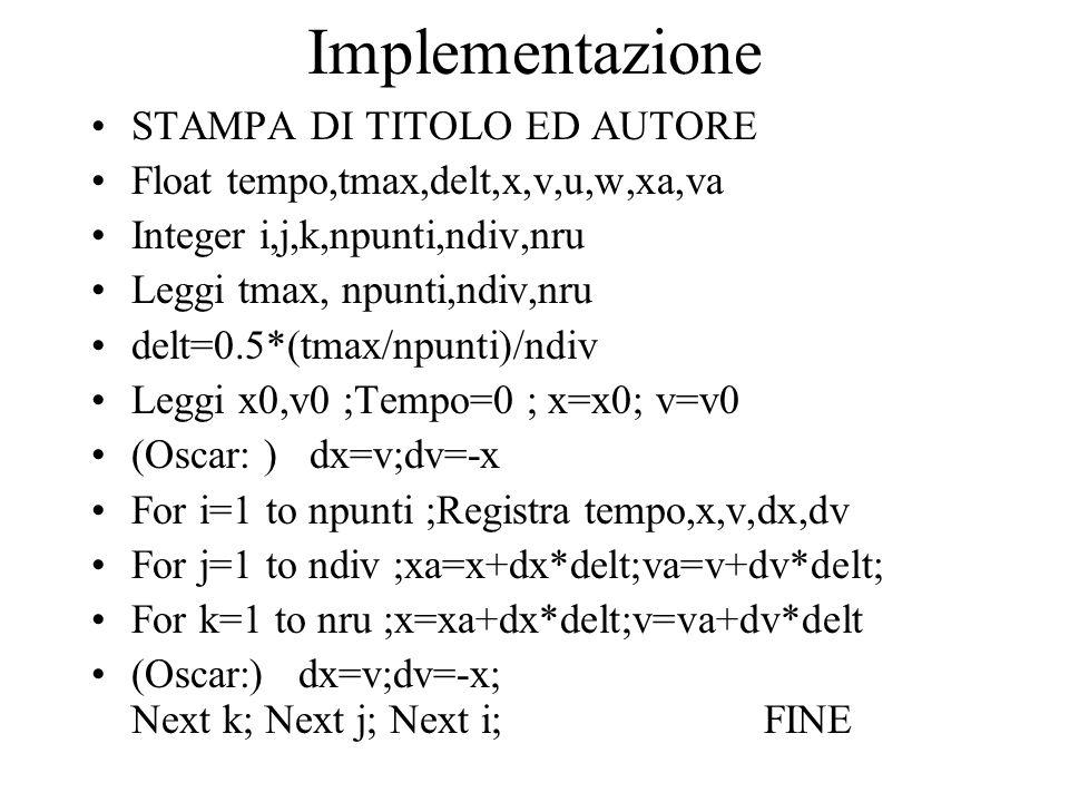 Implementazione STAMPA DI TITOLO ED AUTORE Float tempo,tmax,delt,x,v,u,w,xa,va Integer i,j,k,npunti,ndiv,nru Leggi tmax, npunti,ndiv,nru delt=0.5*(tmax/npunti)/ndiv Leggi x0,v0 ;Tempo=0 ; x=x0; v=v0 (Oscar: ) dx=v;dv=-x For i=1 to npunti ;Registra tempo,x,v,dx,dv For j=1 to ndiv ;xa=x+dx*delt;va=v+dv*delt; For k=1 to nru ;x=xa+dx*delt;v=va+dv*delt (Oscar:) dx=v;dv=-x; Next k; Next j; Next i; FINE