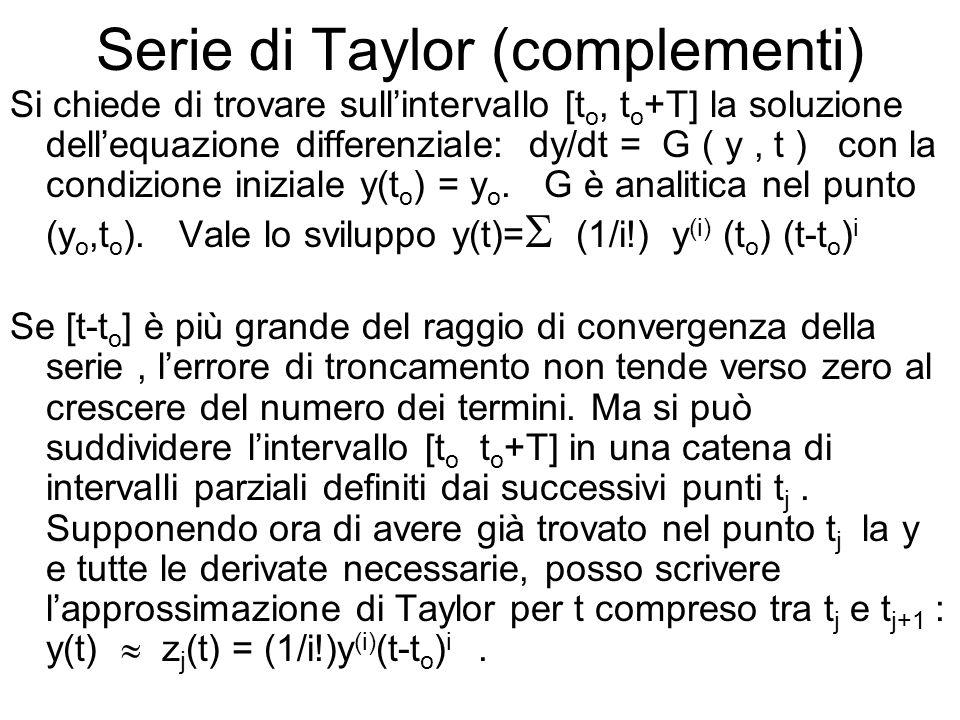 Serie di Taylor (complementi) Si chiede di trovare sull'intervallo [t o, t o +T] la soluzione dell'equazione differenziale: dy/dt = G ( y, t ) con la condizione iniziale y(t o ) = y o.