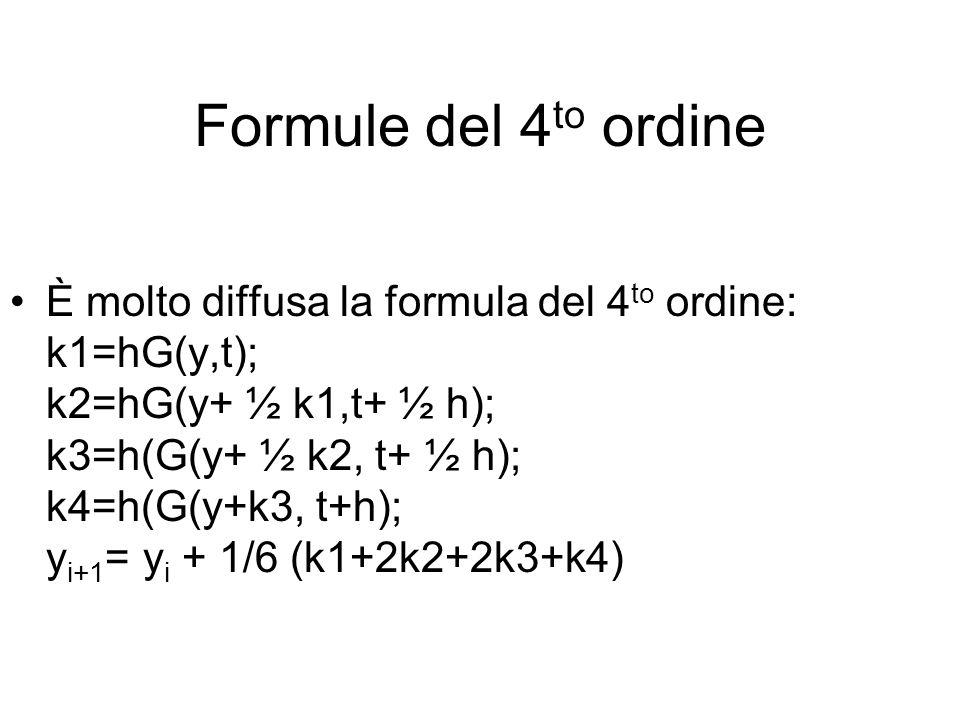 Formule del 4 to ordine È molto diffusa la formula del 4 to ordine: k1=hG(y,t); k2=hG(y+ ½ k1,t+ ½ h); k3=h(G(y+ ½ k2, t+ ½ h); k4=h(G(y+k3, t+h); y i+1 = y i + 1/6 (k1+2k2+2k3+k4)