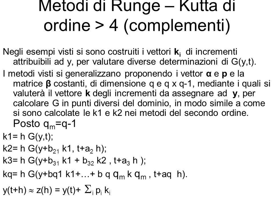 Metodi di Runge – Kutta di ordine > 4 (complementi) Negli esempi visti si sono costruiti i vettori k i di incrementi attribuibili ad y, per valutare diverse determinazioni di G(y,t).