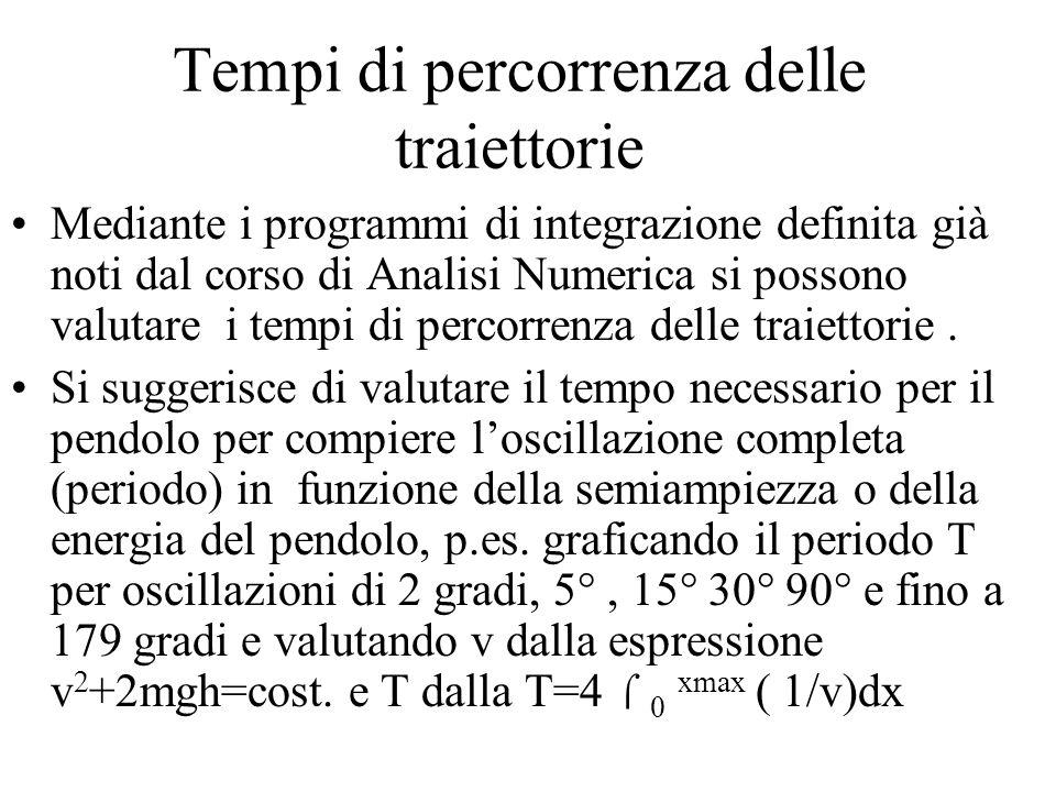 Tempi di percorrenza delle traiettorie Mediante i programmi di integrazione definita già noti dal corso di Analisi Numerica si possono valutare i tempi di percorrenza delle traiettorie.