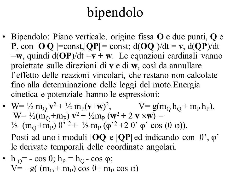 bipendolo Bipendolo: Piano verticale, origine fissa O e due punti, Q e P, con  O Q  =const,  QP  = const; d(OQ )/dt = v, d(QP)/dt =w, quindi d(OP)/dt =v + w.