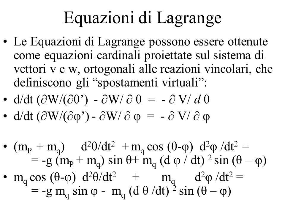 Equazioni di Lagrange Le Equazioni di Lagrange possono essere ottenute come equazioni cardinali proiettate sul sistema di vettori v e w, ortogonali alle reazioni vincolari, che definiscono gli spostamenti virtuali : d/dt (  W/(  θ') -  W/  θ = -  V/ d θ d/dt (  W/(  φ') -  W/  φ = -  V/  φ (m P + m q ) d 2 θ/dt 2 + m q cos (θ-φ) d 2 φ /dt 2 = = -g (m P + m q ) sin θ+ m q (d φ / dt) 2 sin (θ – φ) m q cos (θ-φ) d 2 θ/dt 2 + m q d 2 φ /dt 2 = = -g m q sin φ - m q (d θ /dt) 2 sin (θ – φ)