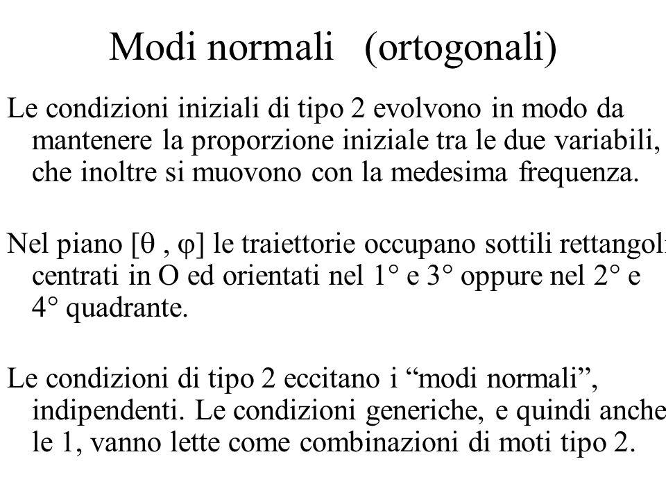 Modi normali (ortogonali) Le condizioni iniziali di tipo 2 evolvono in modo da mantenere la proporzione iniziale tra le due variabili, che inoltre si muovono con la medesima frequenza.