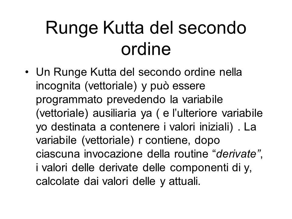 Runge Kutta del secondo ordine Un Runge Kutta del secondo ordine nella incognita (vettoriale) y può essere programmato prevedendo la variabile (vettoriale) ausiliaria ya ( e l'ulteriore variabile yo destinata a contenere i valori iniziali).