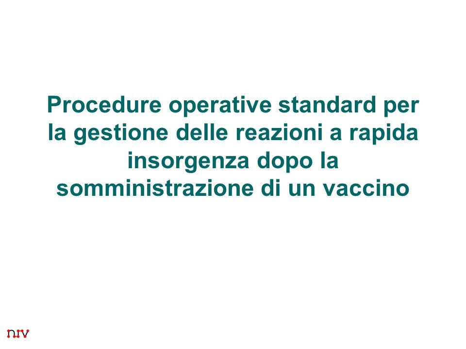 1 Procedure operative standard per la gestione delle reazioni a rapida insorgenza dopo la somministrazione di un vaccino