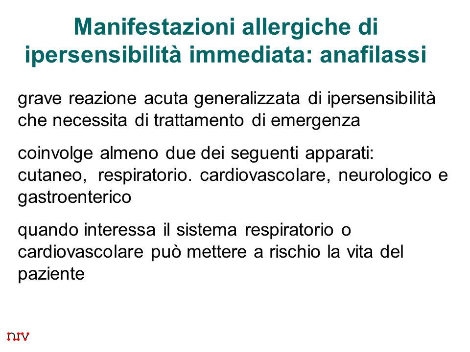 24 Manifestazioni allergiche di ipersensibilità immediata: anafilassi grave reazione acuta generalizzata di ipersensibilità che necessita di trattamento di emergenza coinvolge almeno due dei seguenti apparati: cutaneo, respiratorio.
