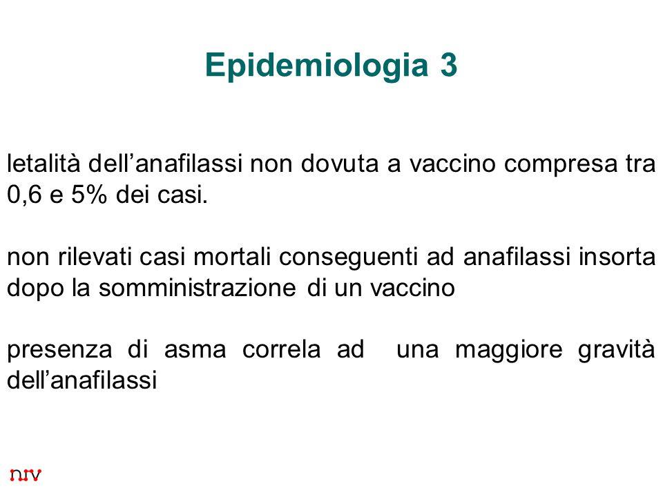 30 Epidemiologia 3 letalità dell'anafilassi non dovuta a vaccino compresa tra 0,6 e 5% dei casi. non rilevati casi mortali conseguenti ad anafilassi i