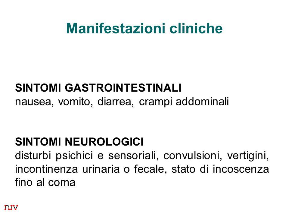 33 Manifestazioni cliniche SINTOMI GASTROINTESTINALI nausea, vomito, diarrea, crampi addominali SINTOMI NEUROLOGICI disturbi psichici e sensoriali, convulsioni, vertigini, incontinenza urinaria o fecale, stato di incoscenza fino al coma
