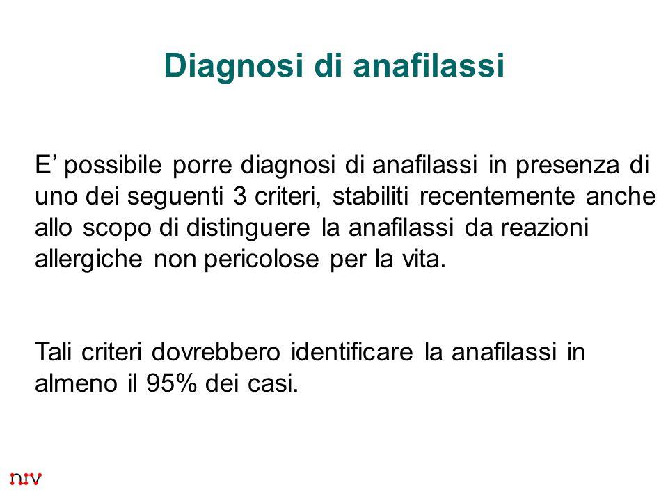 34 Diagnosi di anafilassi E' possibile porre diagnosi di anafilassi in presenza di uno dei seguenti 3 criteri, stabiliti recentemente anche allo scopo di distinguere la anafilassi da reazioni allergiche non pericolose per la vita.