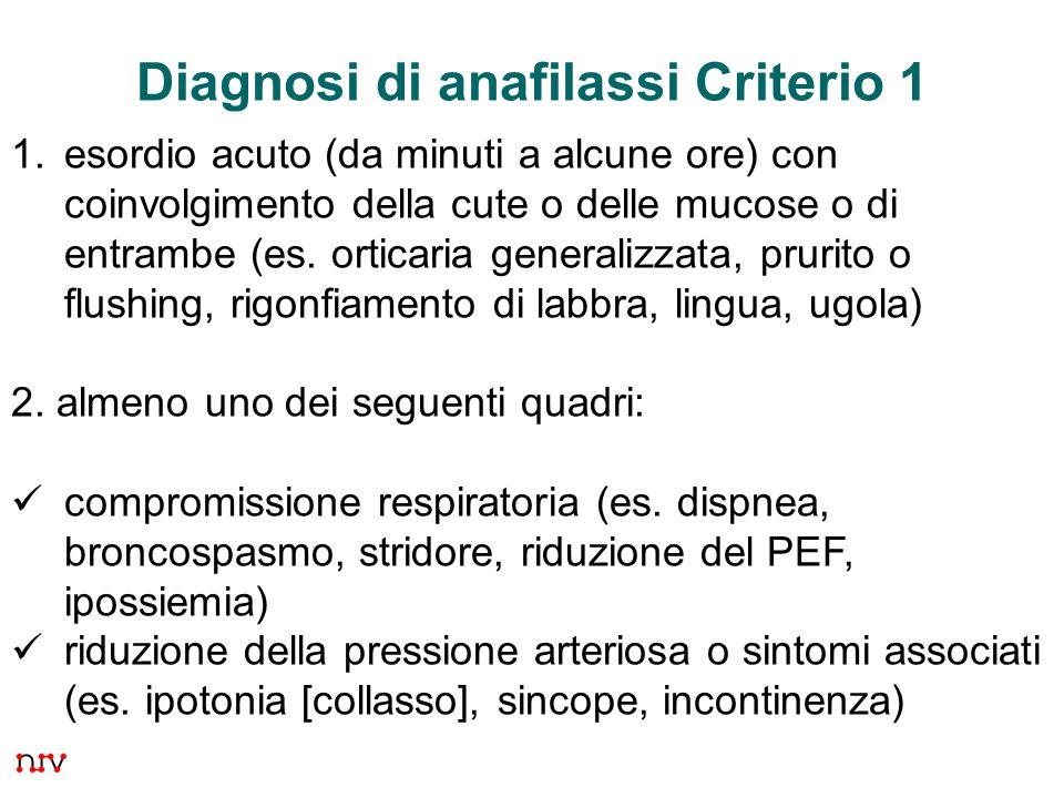 35 Diagnosi di anafilassi Criterio 1 1.esordio acuto (da minuti a alcune ore) con coinvolgimento della cute o delle mucose o di entrambe (es.