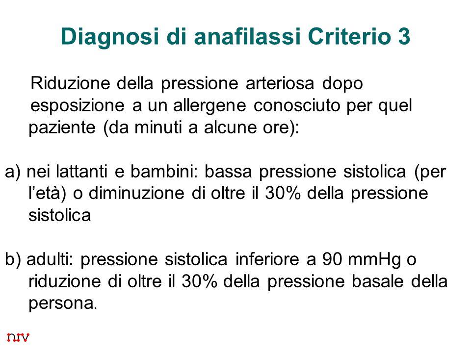 37 Diagnosi di anafilassi Criterio 3 Riduzione della pressione arteriosa dopo esposizione a un allergene conosciuto per quel paziente (da minuti a alcune ore): a) nei lattanti e bambini: bassa pressione sistolica (per l'età) o diminuzione di oltre il 30% della pressione sistolica b) adulti: pressione sistolica inferiore a 90 mmHg o riduzione di oltre il 30% della pressione basale della persona.
