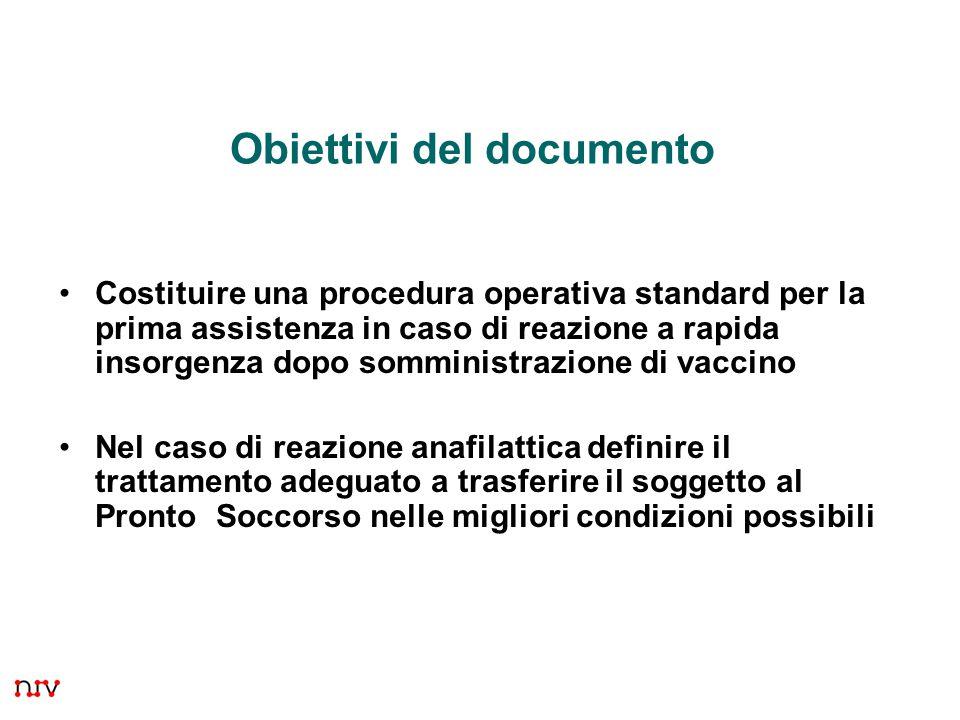 4 Obiettivi del documento Costituire una procedura operativa standard per la prima assistenza in caso di reazione a rapida insorgenza dopo somministra