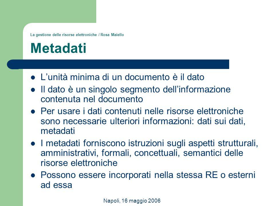 Napoli, 16 maggio 2006 La gestione delle risorse elettroniche / Rosa Maiello Metadati L'unità minima di un documento è il dato Il dato è un singolo se