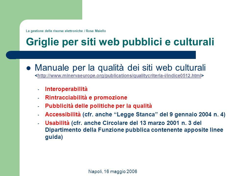 Napoli, 16 maggio 2006 La gestione delle risorse elettroniche / Rosa Maiello Griglie per siti web pubblici e culturali Manuale per la qualità dei siti