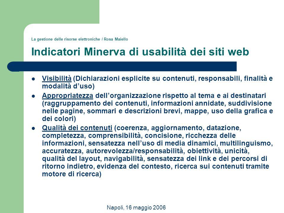 Napoli, 16 maggio 2006 La gestione delle risorse elettroniche / Rosa Maiello Indicatori Minerva di usabilità dei siti web Visibilità (Dichiarazioni es