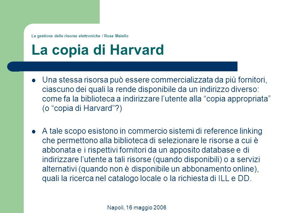 Napoli, 16 maggio 2006 La gestione delle risorse elettroniche / Rosa Maiello La copia di Harvard Una stessa risorsa può essere commercializzata da più