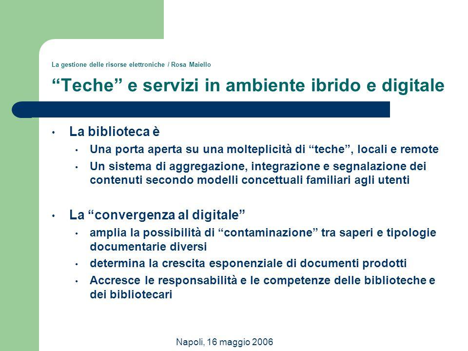 """Napoli, 16 maggio 2006 La gestione delle risorse elettroniche / Rosa Maiello """"Teche"""" e servizi in ambiente ibrido e digitale La biblioteca è Una porta"""