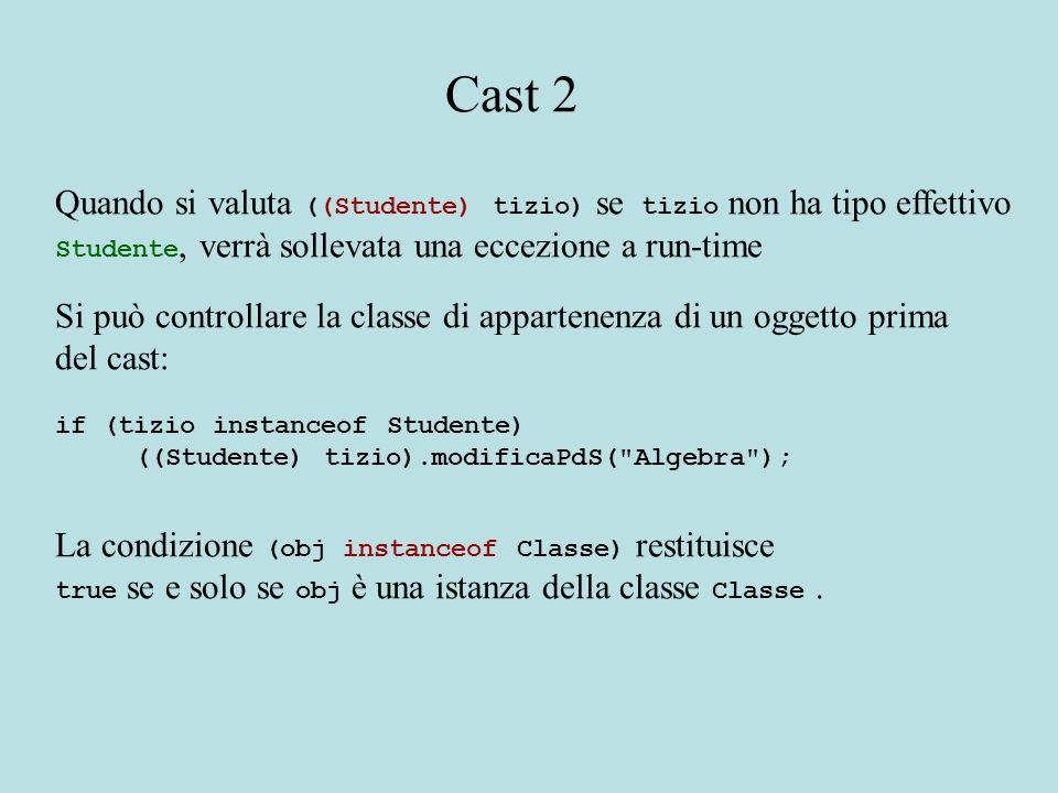 Quando si valuta ((Studente) tizio) se tizio non ha tipo effettivo Studente, verrà sollevata una eccezione a run-time Si può controllare la classe di appartenenza di un oggetto prima del cast: if (tizio instanceof Studente) ((Studente) tizio).modificaPdS( Algebra ); La condizione (obj instanceof Classe) restituisce true se e solo se obj è una istanza della classe Classe.