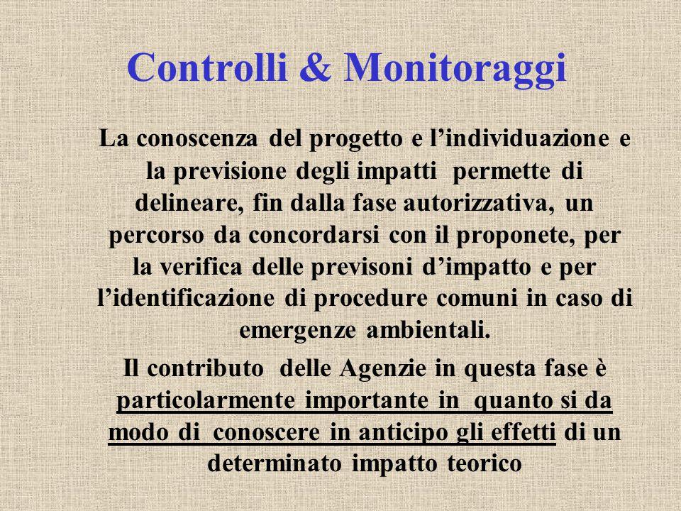 Controlli & Monitoraggi La conoscenza del progetto e l'individuazione e la previsione degli impatti permette di delineare, fin dalla fase autorizzativ