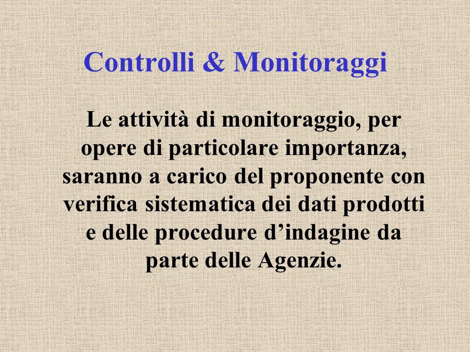 Controlli & Monitoraggi Le attività di monitoraggio, per opere di particolare importanza, saranno a carico del proponente con verifica sistematica dei