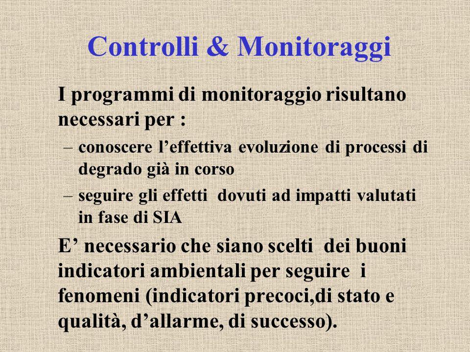Controlli & Monitoraggi I programmi di monitoraggio risultano necessari per : –conoscere l'effettiva evoluzione di processi di degrado già in corso –s