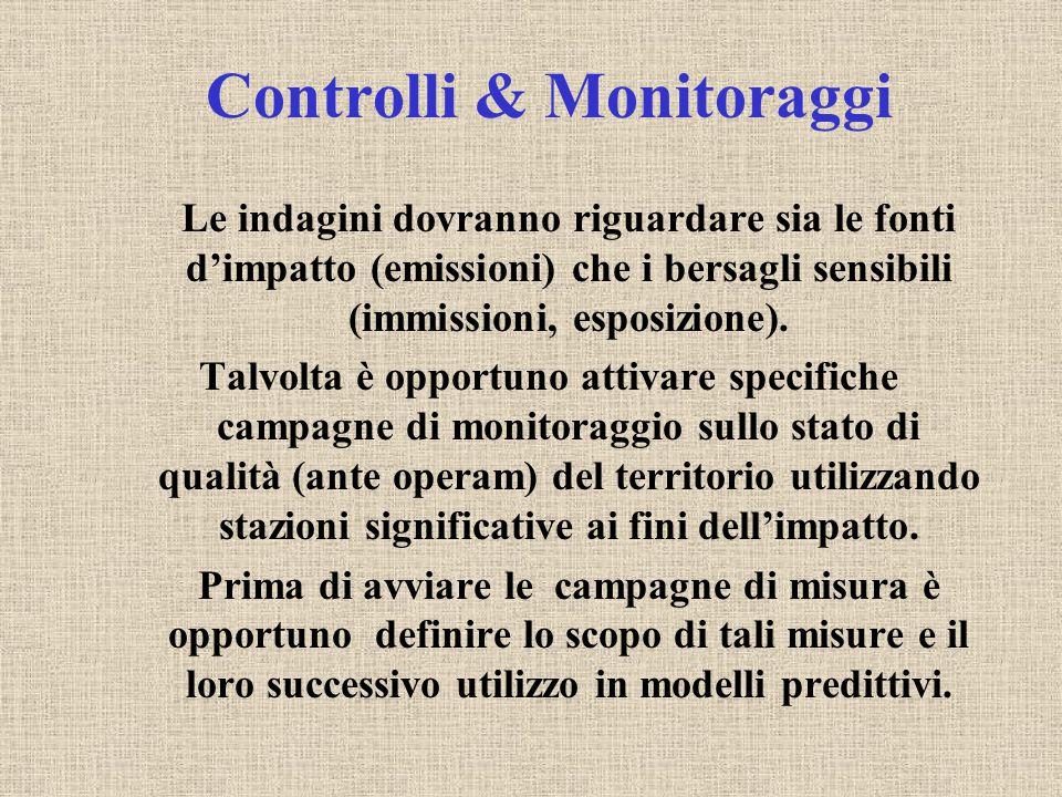 Controlli & Monitoraggi Le indagini dovranno riguardare sia le fonti d'impatto (emissioni) che i bersagli sensibili (immissioni, esposizione).