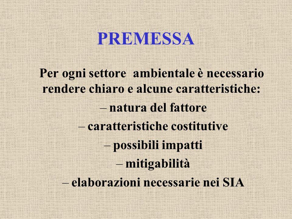 PREMESSA Per ogni settore ambientale è necessario rendere chiaro e alcune caratteristiche: –natura del fattore –caratteristiche costitutive –possibili