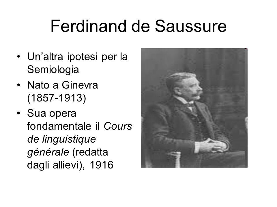 Ferdinand de Saussure Un'altra ipotesi per la Semiologia Nato a Ginevra (1857-1913) Sua opera fondamentale il Cours de linguistique générale (redatta