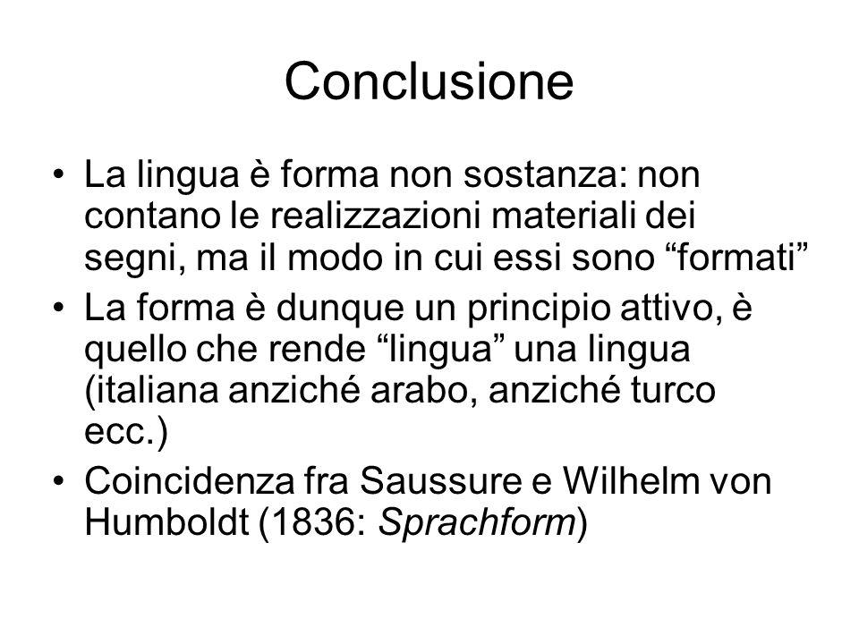 """Conclusione La lingua è forma non sostanza: non contano le realizzazioni materiali dei segni, ma il modo in cui essi sono """"formati"""" La forma è dunque"""