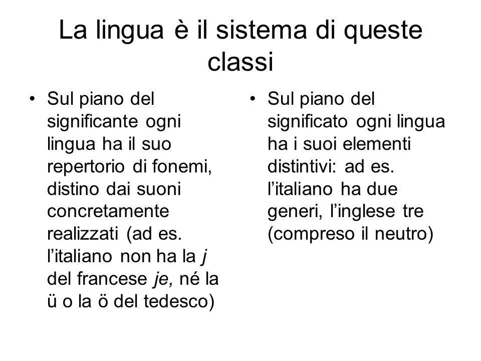 La lingua è il sistema di queste classi Sul piano del significante ogni lingua ha il suo repertorio di fonemi, distino dai suoni concretamente realizz