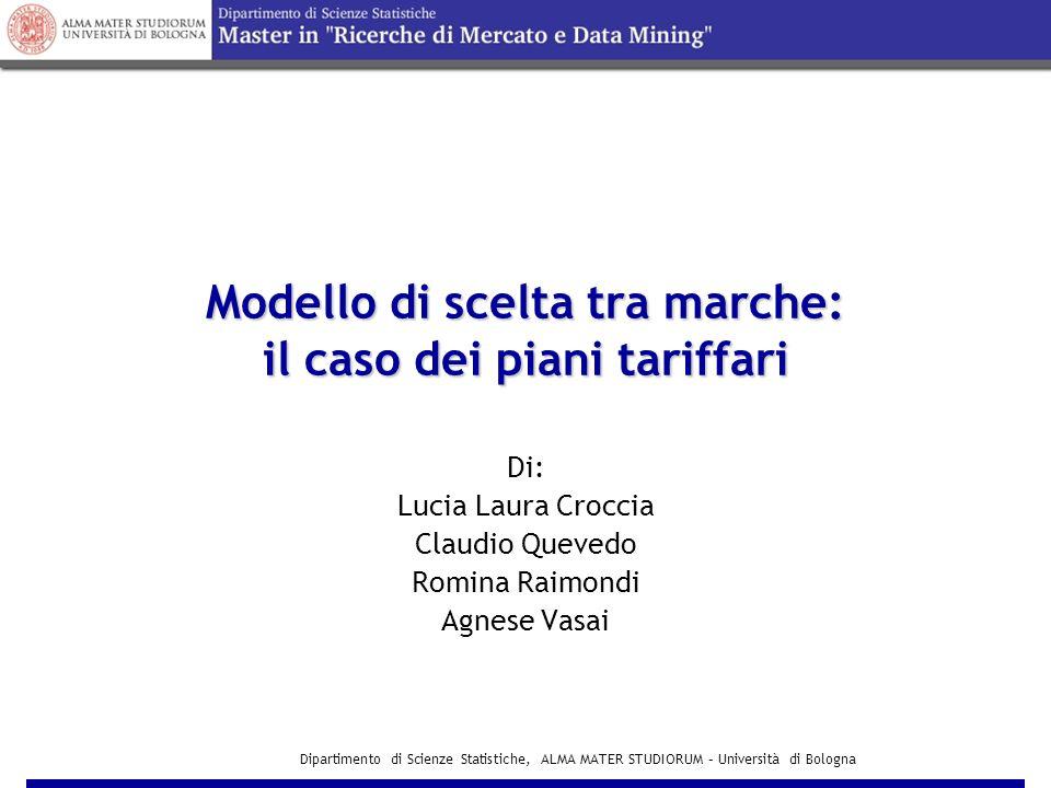 Dipartimento di Scienze Statistiche, ALMA MATER STUDIORUM – Università di Bologna Modello per la scelta tra piani a Tariffa INCLUSIVE VALUE I F= =ln(e VLF + e VEM + e VMF )