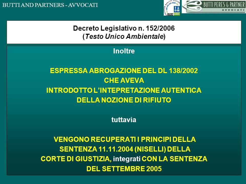 BUTTI AND PARTNERS - AVVOCATI Decreto Legislativo n.