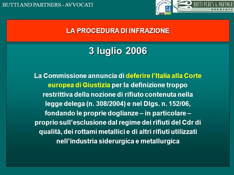 BUTTI AND PARTNERS - AVVOCATI LA PROCEDURA DI INFRAZIONE 3 luglio 2006 La Commissione annuncia di deferire l'Italia alla Corte europea di Giustizia per la definizione troppo restrittiva della nozione di rifiuto contenuta nella legge delega (n.