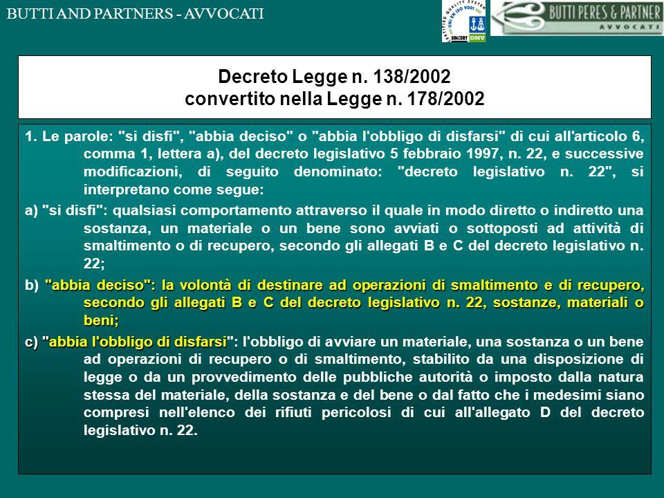 BUTTI AND PARTNERS - AVVOCATI SOTTOPRODOTTO nel Decreto Legislativo n.