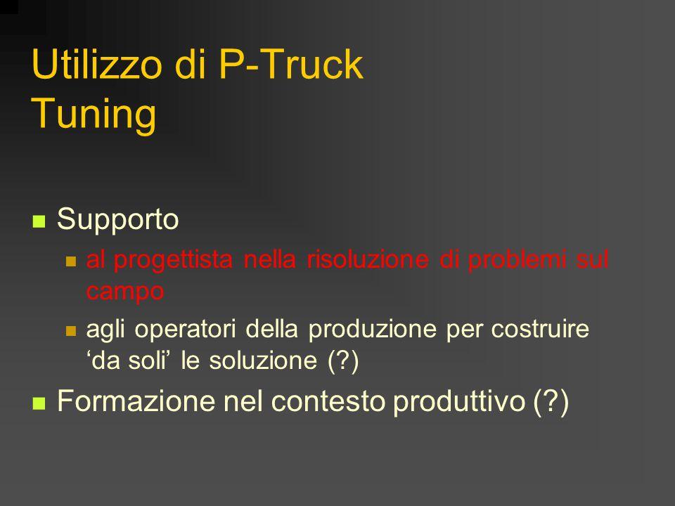 Utilizzo di P-Truck Tuning Supporto al progettista nella risoluzione di problemi sul campo agli operatori della produzione per costruire 'da soli' le soluzione ( ) Formazione nel contesto produttivo ( )
