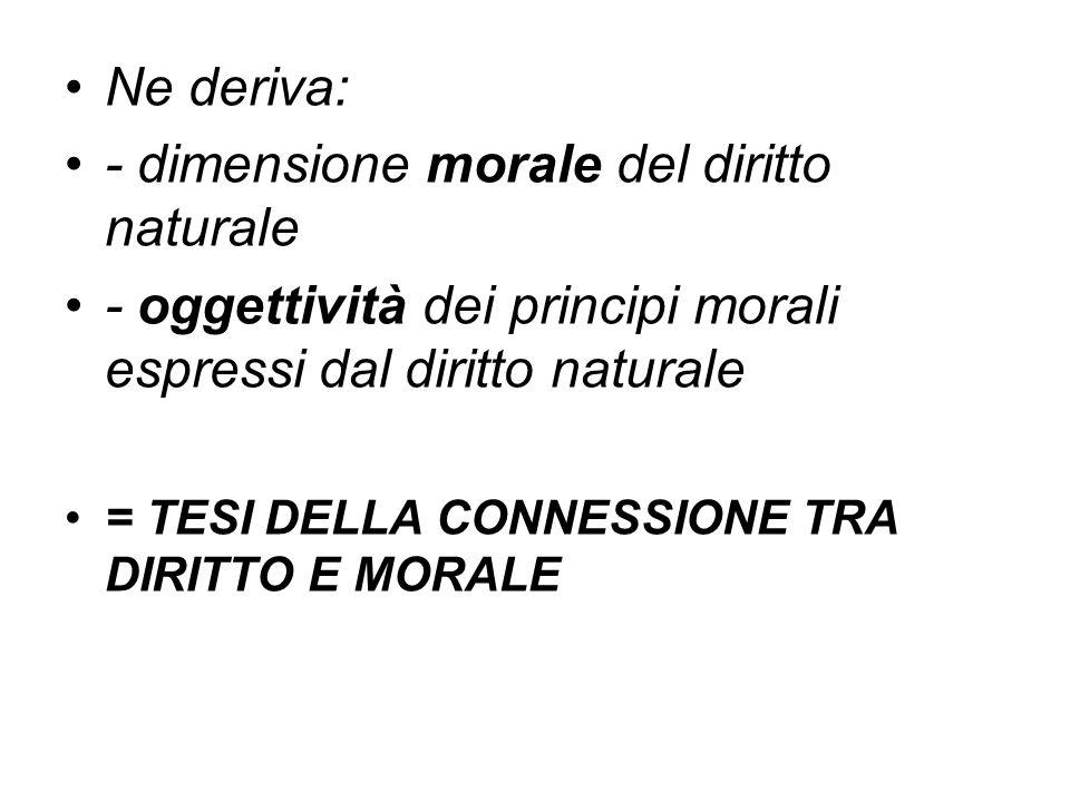 Ne deriva: - dimensione morale del diritto naturale - oggettività dei principi morali espressi dal diritto naturale = TESI DELLA CONNESSIONE TRA DIRIT