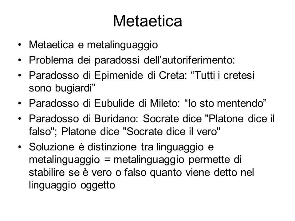 """Metaetica Metaetica e metalinguaggio Problema dei paradossi dell'autoriferimento: Paradosso di Epimenide di Creta: """"Tutti i cretesi sono bugiardi"""" Par"""