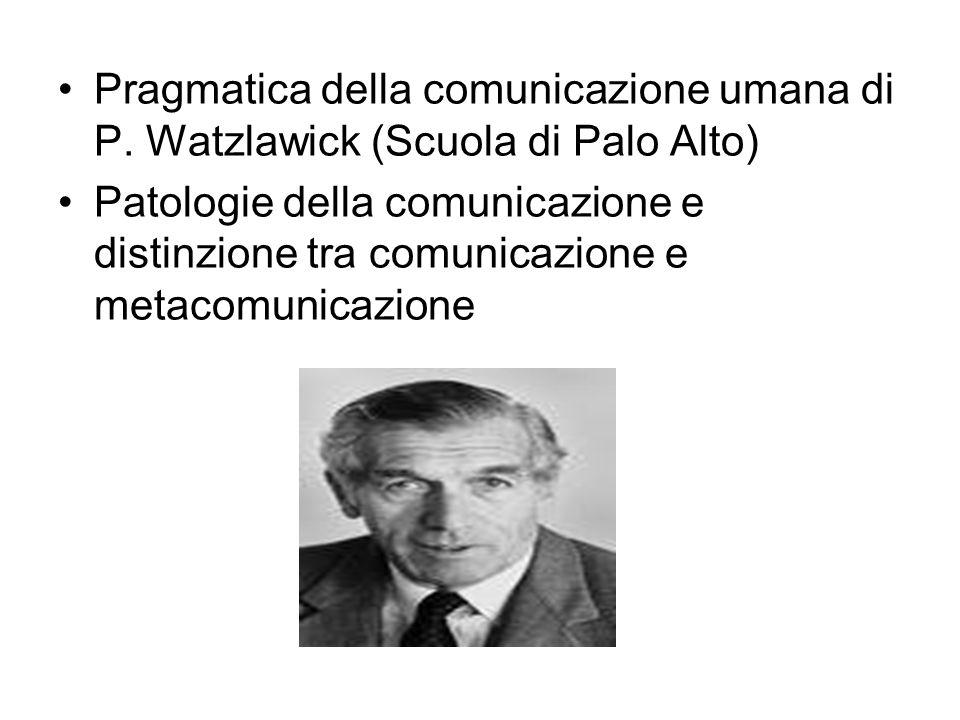Pragmatica della comunicazione umana di P. Watzlawick (Scuola di Palo Alto) Patologie della comunicazione e distinzione tra comunicazione e metacomuni