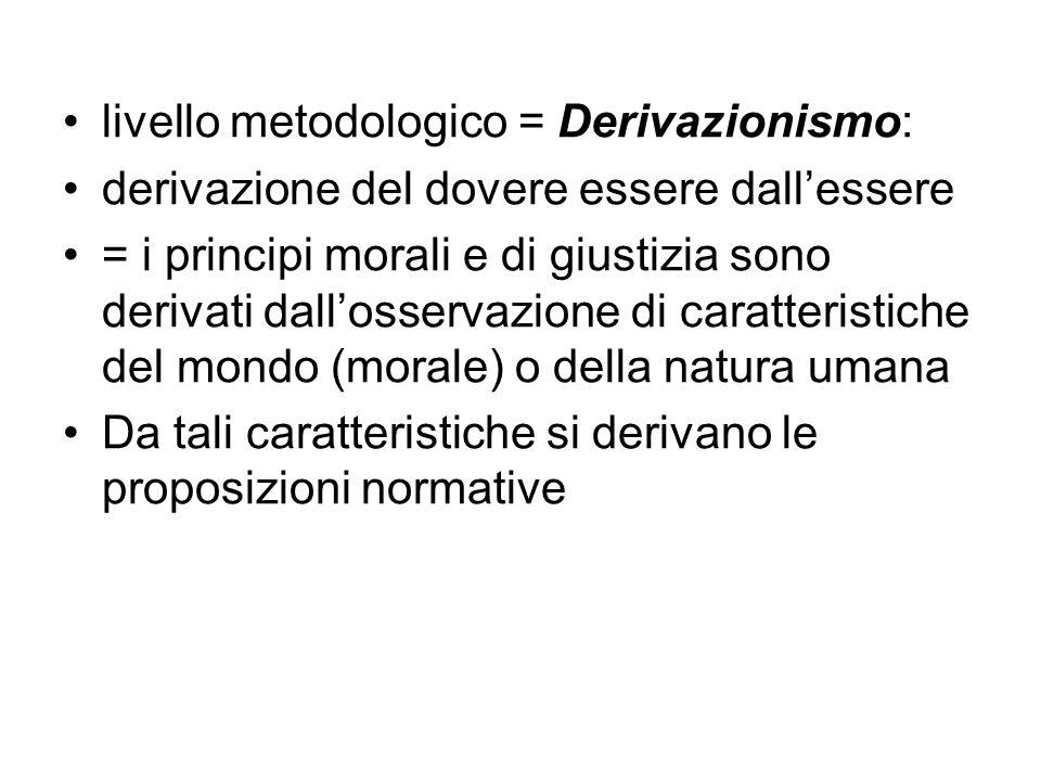 livello metodologico = Derivazionismo: derivazione del dovere essere dall'essere = i principi morali e di giustizia sono derivati dall'osservazione di