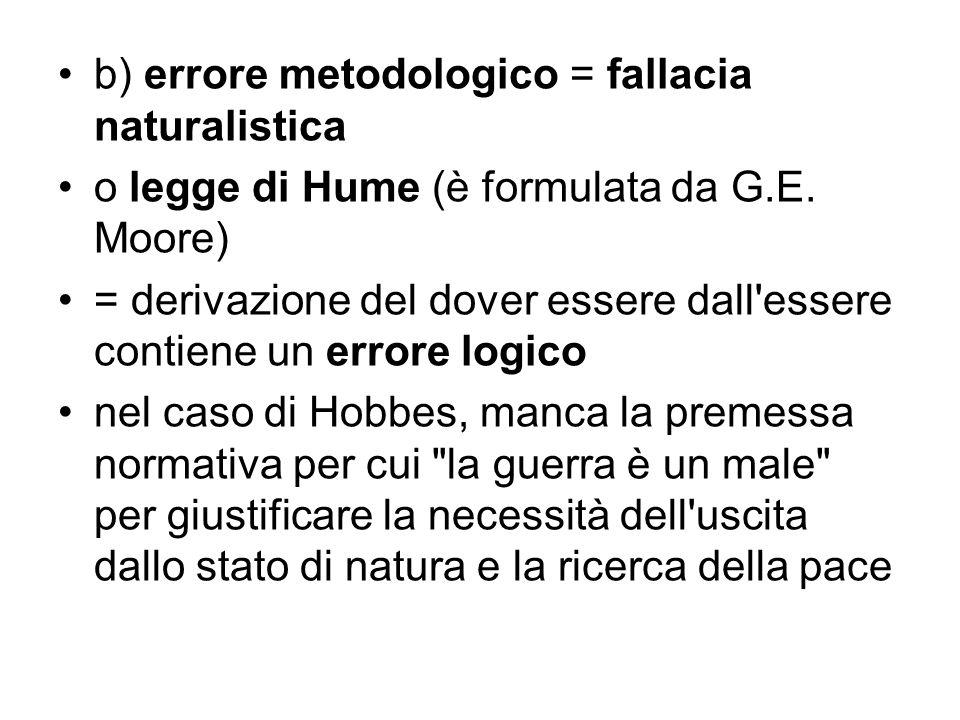 b) errore metodologico = fallacia naturalistica o legge di Hume (è formulata da G.E. Moore) = derivazione del dover essere dall'essere contiene un err