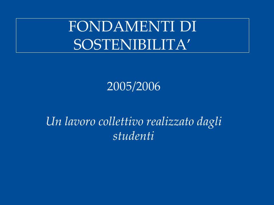 FONDAMENTI DI SOSTENIBILITA' 2005/2006 Un lavoro collettivo realizzato dagli studenti