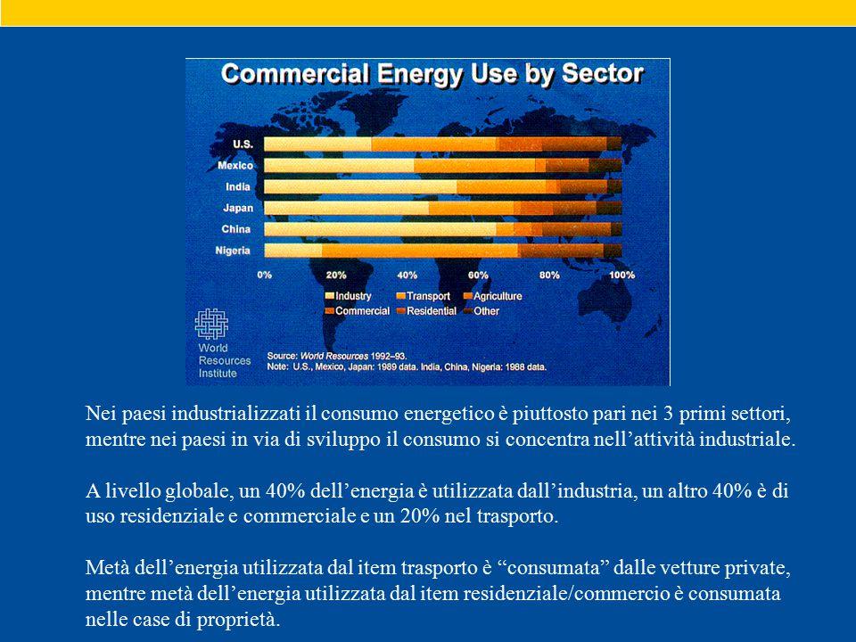 Nei paesi industrializzati il consumo energetico è piuttosto pari nei 3 primi settori, mentre nei paesi in via di sviluppo il consumo si concentra nell'attività industriale.