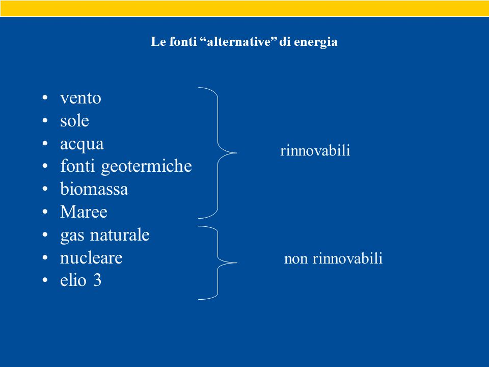 Le fonti alternative di energia vento sole acqua fonti geotermiche biomassa Maree gas naturale nucleare elio 3 rinnovabili non rinnovabili