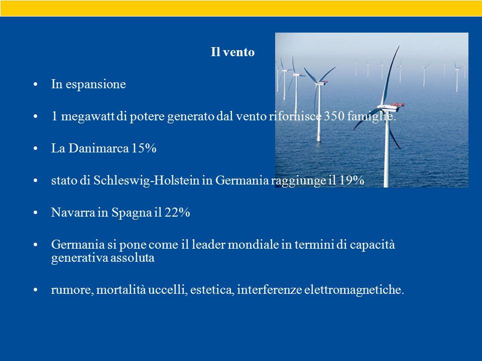 Il vento In espansione 1 megawatt di potere generato dal vento rifornisce 350 famiglie.