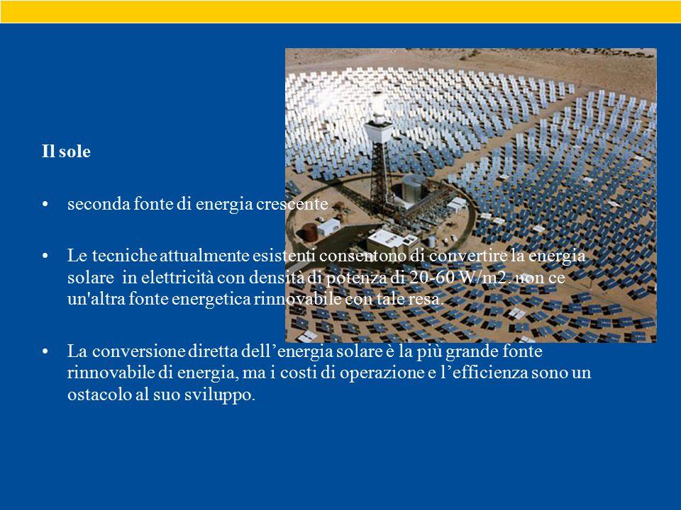 Il sole seconda fonte di energia crescente Le tecniche attualmente esistenti consentono di convertire la energia solare in elettricità con densità di potenza di 20-60 W/m2.