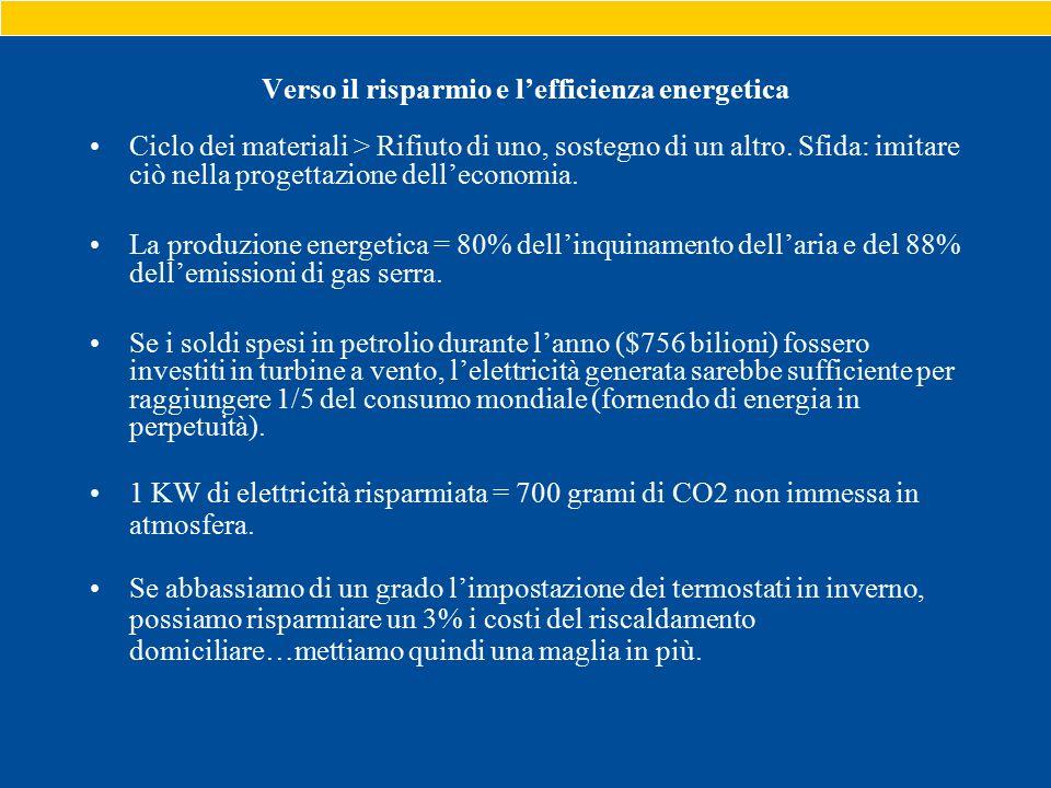 Verso il risparmio e l'efficienza energetica Ciclo dei materiali > Rifiuto di uno, sostegno di un altro.