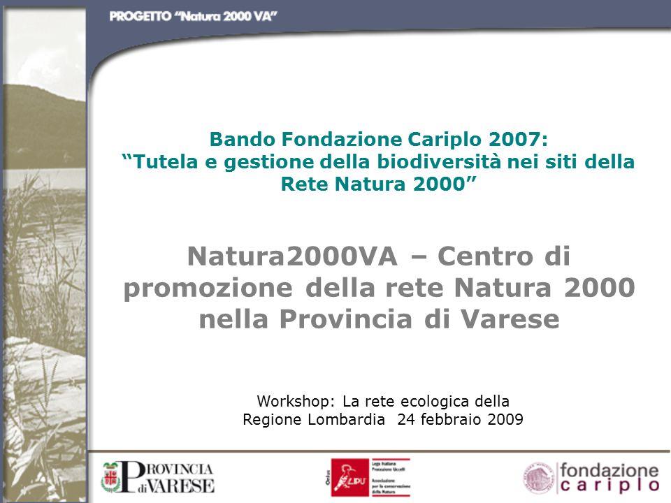 Bando Fondazione Cariplo 2007: Tutela e gestione della biodiversità nei siti della Rete Natura 2000 Natura2000VA – Centro di promozione della rete Natura 2000 nella Provincia di Varese Workshop: La rete ecologica della Regione Lombardia 24 febbraio 2009