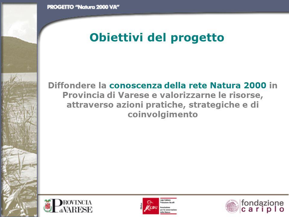 Diffondere la conoscenza della rete Natura 2000 in Provincia di Varese e valorizzarne le risorse, attraverso azioni pratiche, strategiche e di coinvolgimento Obiettivi del progetto